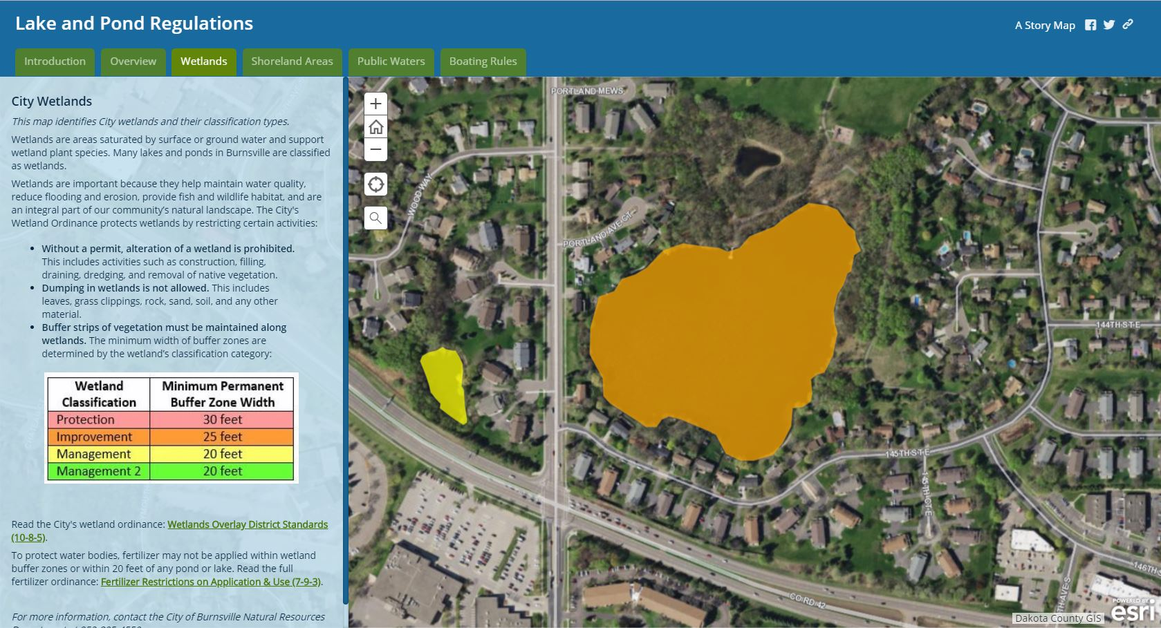 Web Map - Lake and Pond Regulations - Wetlands - close up