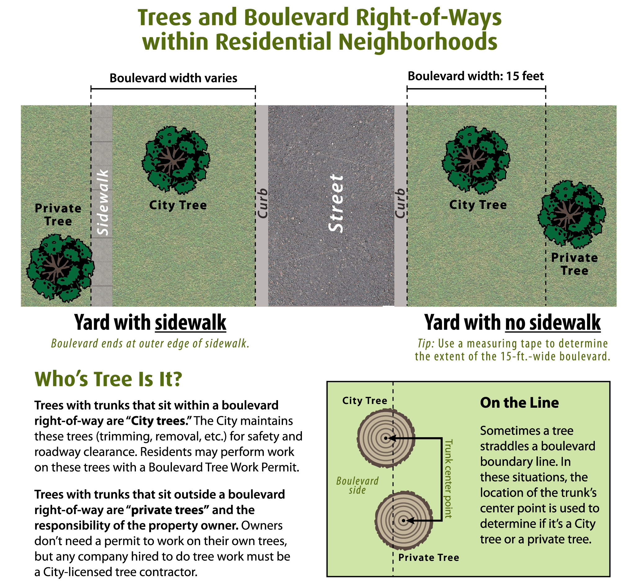 Trees and boulevard right-of-ways within residential neighborhoods