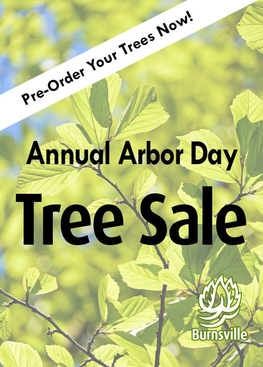 "Close up of green leaves against a sunny blue sky. Text: ""Annual Arbor Day Tree Sale Pre-Order"