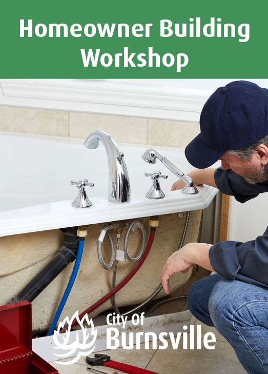 A man replacing kitchen cabinets. Text: Homeowner Building Workshop