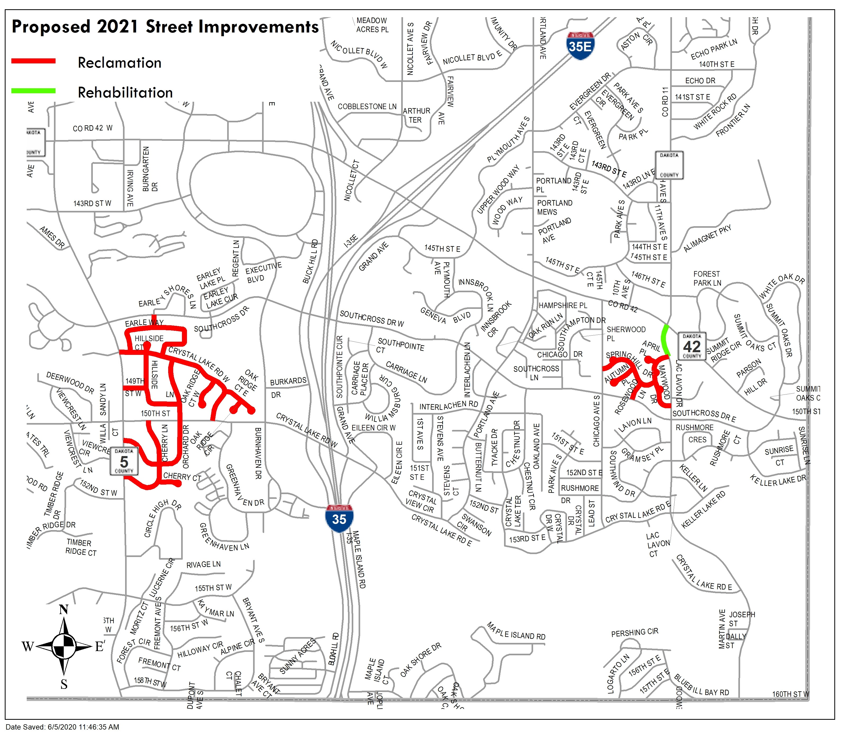 2021 Proposed Street Improvements Map
