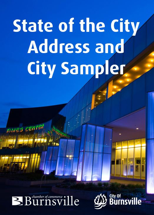 State of the City Address on blue background with City Hall photo