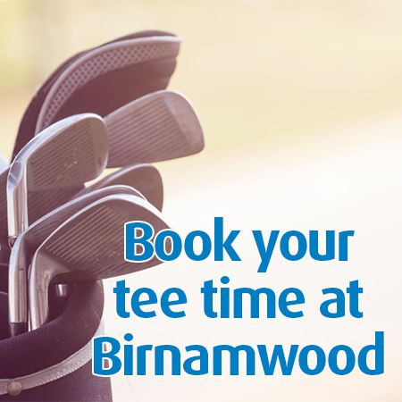 photo of golf clubs, text Book your tee time at Birnamwood