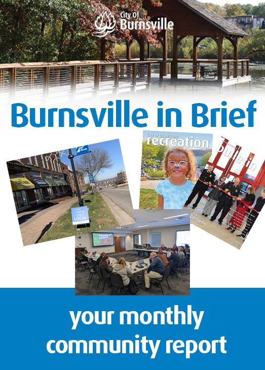 Burnsville in Brief headline with photographs of city vehicles and buildings