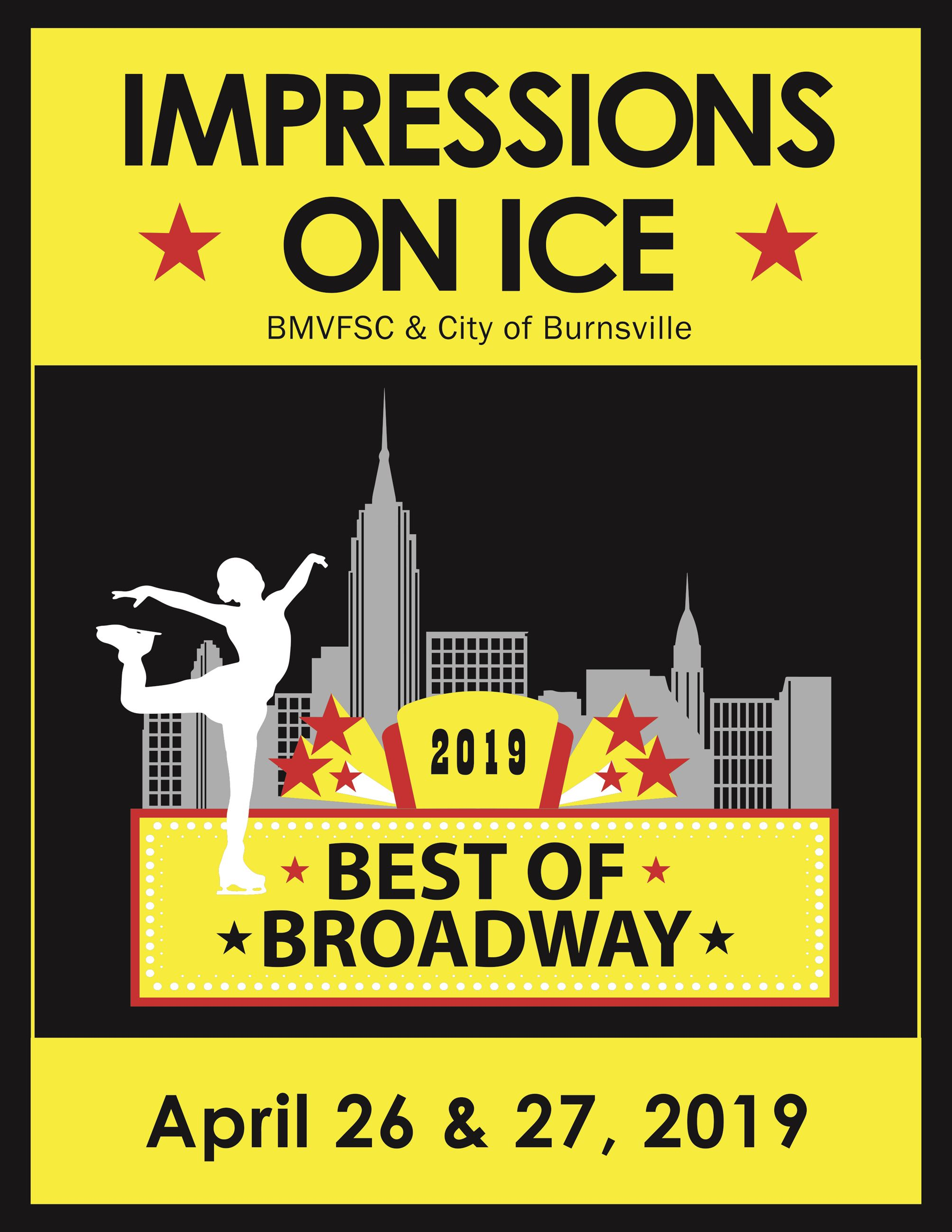 2019 Impression on Ice Show - The Best of Broadway, front of printed program
