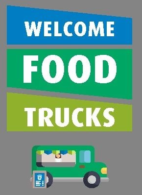 Illustration of food truck. Text: Welcome Food Trucks